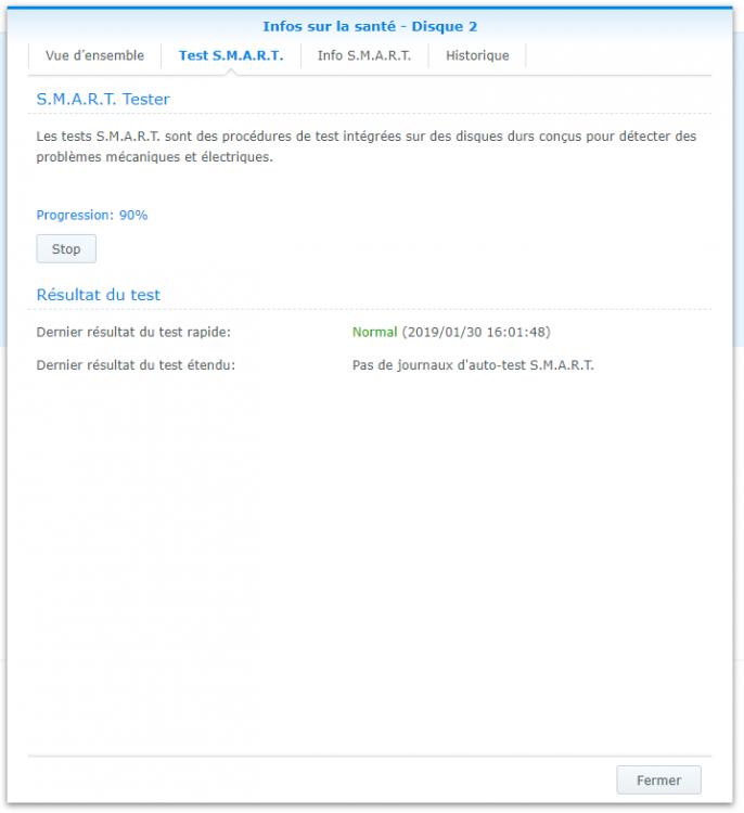 2019-01-28 56 DSM Gestionnaire de stockage 2 disques (2+3) HDD - Santé disque 2 - Test SMART étendu.png